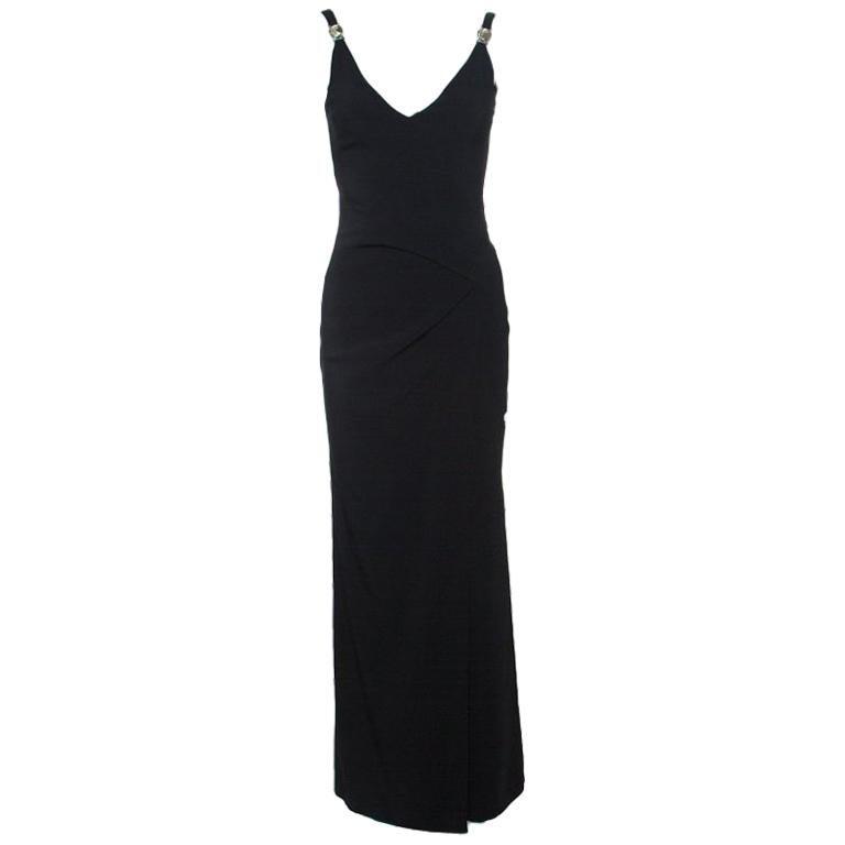 9556e696 Versace Collection Black Logo Strap Slit Detail Draped Maxi Dress S For Sale