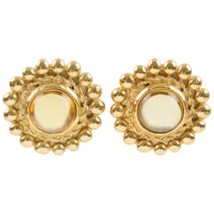 Sonia Rykiel Paris Signed Clip Earrings Gilt Metal Champagne Resin Cabochon