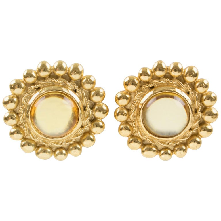 Sonia Rykiel Paris Signed Clip Earrings Gilt Metal Champagne Resin Cabochon For Sale