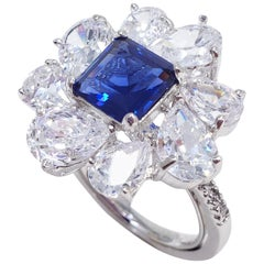 CZ by KJL, Cubic Zirconia Rhodium Plated Cluster Cocktail Ring, Kenneth Jay Lane