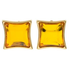 Yves Saint Laurent Paris Square Clip Earrings Gilt Metal & Honey Glass Cabochon