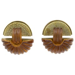 Fabrice Paris Signed Clip Earrings Art Deco Revival Brass Shagreen Amber Resin