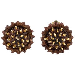 Early Francoise Montague Paris clip on Earrings Brown Resin Talosel Brass Studs