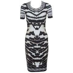 Roberto Cavalli Animal Printed Knit Short Sleeve Bodycon Dress S