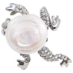 Oscar de la Renta Mother of Pearl, Pave Crystal, Rhodium Plated Frog Ring