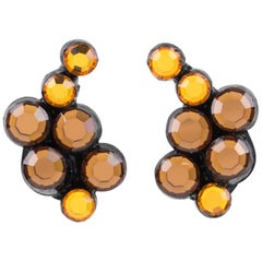 Monique Vedie, Line Vautrin Student Resin Clip Earrings Amber Mirror Rhinestones
