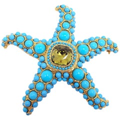 KJL Kenneth Jay Lane Turquoise Cabochon & Olive Crystal Starfish Pin, Brooch