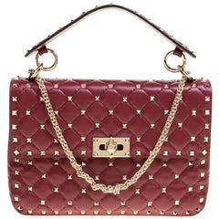 Valentino Red Matelasse Leather Medium Rockstud Spike Shoulder Bag
