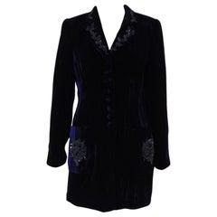 Rena Lange Blue Wool Velvet Jacket Blazer NWOT