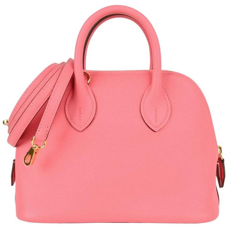 Hermes Mini Bolide 1923 Bag Rose Azalee Evercolor For Sale
