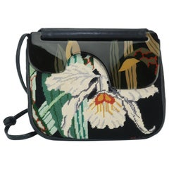 1980's Moon Bags Needlepoint Leather & Hand Painted Lacquer Wood Handbag