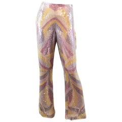 Escada Sequin and Bead Embellished Silk Pants