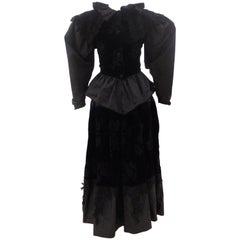 Claude Montana Black Silk Velvet Lace Skirt Suit