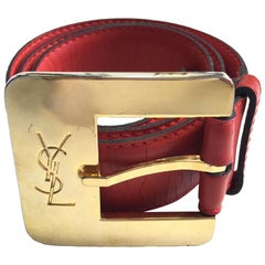 YVES SAINT LAURENT Belt in Red Leather Size 75/30