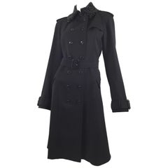 Burberry Black Gabardine Trench Coat with Beaded Collar