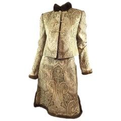 Valentino Brocade Skirt & Jacket with Fur Trim