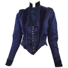 Victorian Navy Blue Velvet Jacket 1800's