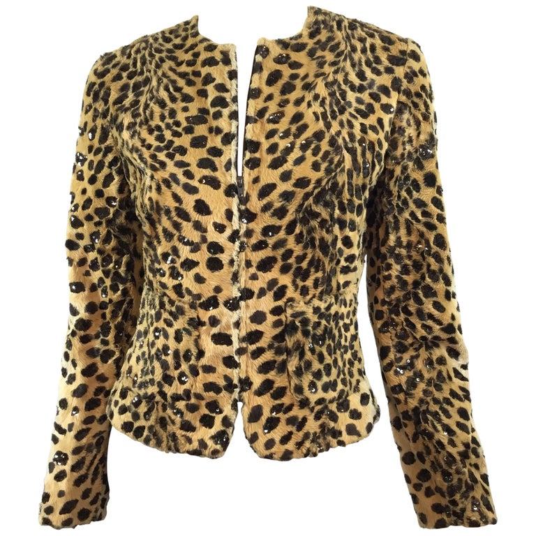 6d91e81b0b85 Valentino Leopard Print Jacket with Sequins For Sale at 1stdibs