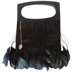 LALIQUE Feather Embellished Silk Evening Bag