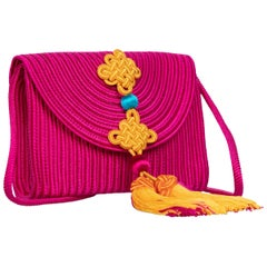 Yves Saint Laurent YSL Pink Passementerie Yellow Tassel Shoulder Bag ,1990s