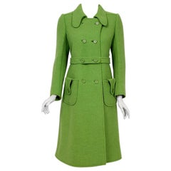 1969 Courreges Couture Green Wool Double-Breasted Mod Pockets Belted Coat
