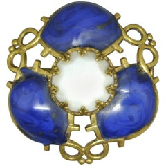 Gripoix Made in France lapis Blue Poured Glass abstract Brooch