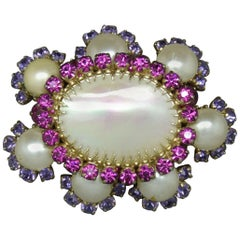 Countess Cissy Zoltowska Cis Pink Crystal Large mother of pearl Brooch