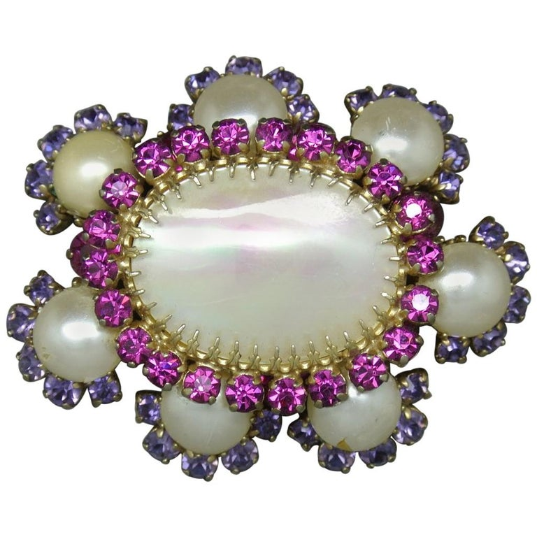 Countess Cissy Zoltowska Cis Pink Crystal Large mother of pearl Brooch For Sale