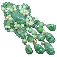 French 1950s tassel Drop Green Poured Glass Brooch