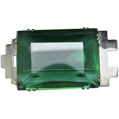 French 1950s made in france Art Deco Green large Glass Brooch