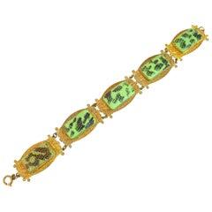 Art Deco Tschechisch-Ägyptisches Revival Schlangenhaut Glas-Armband der 1920er Jahre