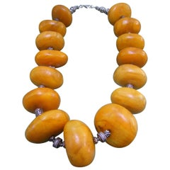 Massive Faux Amber Color Resin Beaded Artisan Necklace c 1970s