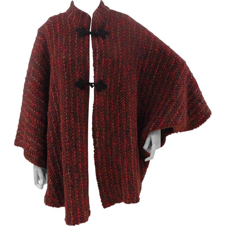 Wool multicoloured handmade cape For Sale