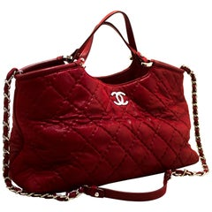 CHANEL Red 2 Way Shoulder Bag Handbag Large Calfskin Leather