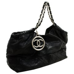 CHANEL Coco Cabas Soft Caviar Chain Shoulder Bag Black Quilted SV