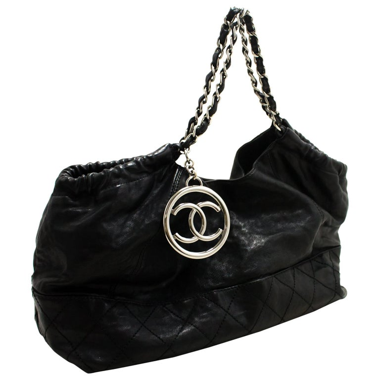 c28e04780f9a Chanel Coco Cabas Soft Caviar Chain Shoulder Bag Black Quilted Sv