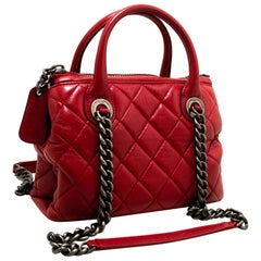 CHANEL 2 Way Red Silver Chain Shoulder Bag Handbag Quilted Calf