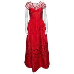 Oscar de la Renta Red Sequin Floral Embellished Cutout Detail Ball Gown S