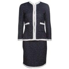 CH Carolina Herrera Navy Blue Textured Contrast Trim Detail Skirt Suit S