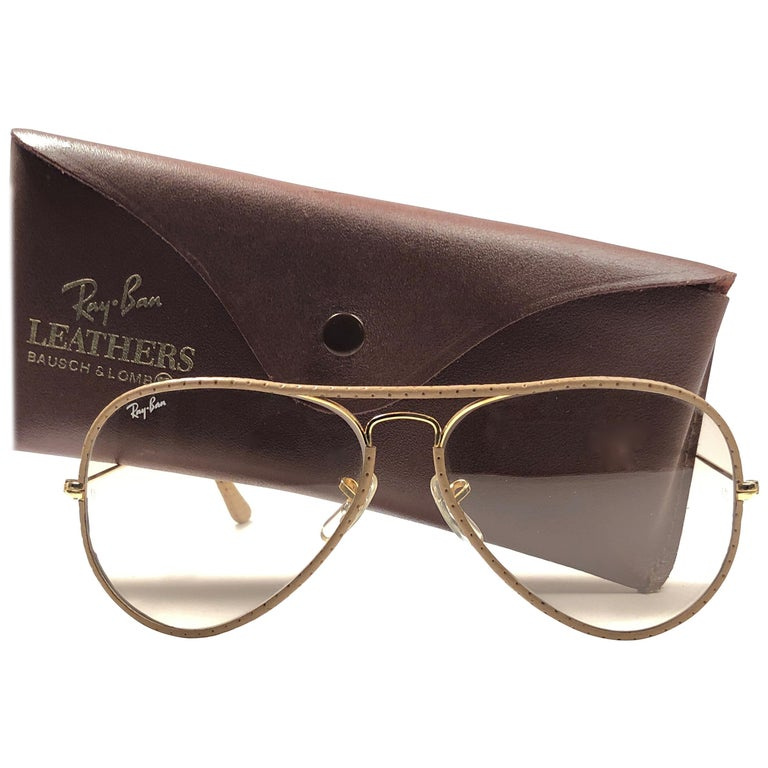 Vintage Ray Ban Vintage Tan Perforated Leathers Aviator 58MM B&L Sunglasses For Sale
