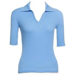 Louis Vuitton Powder Blue Rib Knit Short Sleeve Collared Top S