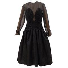 1980s Barberini Haute Couture Black Beaded Dress