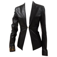 Dirk Bikkembergs Black Leather Jacket Gold Tone charms