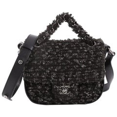 Chanel CC Lock Flap Messenger Bag Tweed Small