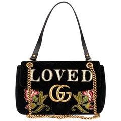 2018 Gucci Black Quilted & Embellished Velvet 'Loved' Medium Marmont