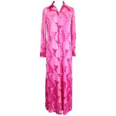 1970s La Mendola Fuchsia Psychedelic Banlon Maxi Tunic Long Dress NWT