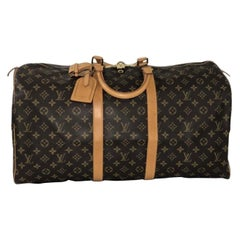 Louis Vuitton Monogram Keepall 55 Top Handle Travel Bag