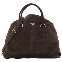 Prada Convertible Bowler Bag Suede Large