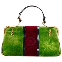 Roberta Di Camerino Vintage Green/Red Velvet Top Handle Bag