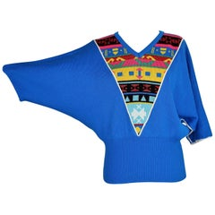 1980s Pierre Cardin Paris Blue Geometric Wool Batwing Sleeve Sweater
